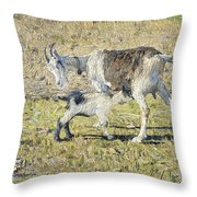 A Goat With Her Kid Throw Pillow