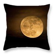 A Golden Super Moon On The Rise  Throw Pillow