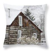 A Golden Winter Throw Pillow
