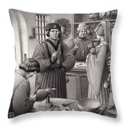 A Goldsmith's Shop In 15th Century Italy Throw Pillow