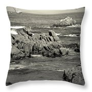 A Good Day Fishing On Monterey Bay In Black And White Throw Pillow