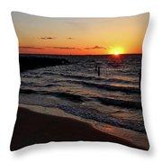 A Grand Beach Sunset Throw Pillow
