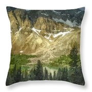 A Gray Sky Over The Canadian Rockies Throw Pillow