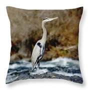 A Great Blue Heron At The Spokane River 2 Throw Pillow