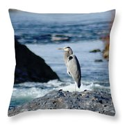 A Great Blue Heron At The Spokane River Throw Pillow