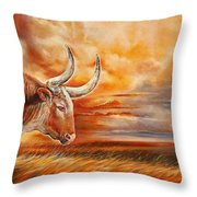 A Great Texas Longhorn Steer Inspired The Bevo Song Throw Pillow