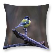A Great Tit In The Rain Throw Pillow