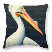 A Great White American Pelican Throw Pillow by James W Johnson