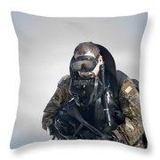 A Green Beret Emerges Onto Okaloosa Throw Pillow
