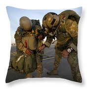 A Green Beret Inspects The Gear Throw Pillow