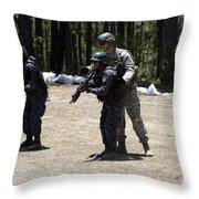 A Green Beret Instructs Tigres Trainees Throw Pillow