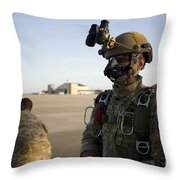 A Green Beret Waits To Have His Gear Throw Pillow