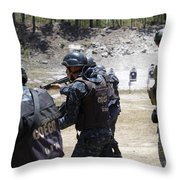 A Green Beret Walks With Tigres Throw Pillow