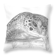 A Green Sea Turtle Grayscale Throw Pillow