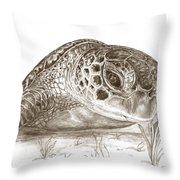A Green Sea Turtle In Earthtones Throw Pillow