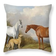 A Grey And A Chestnut Hunter With A Deerhound Throw Pillow