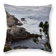 A Grey Day At Big Sur Throw Pillow