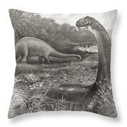 A Group Of Brontosaurs, Or Thunder Throw Pillow