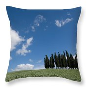 A Group Of Cypress Trees Dot A Tuscan Throw Pillow