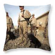A Group Of Dog-handlers Conduct Throw Pillow by Stocktrek Images