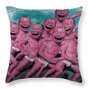 A Group Of People Laugh Throw Pillow