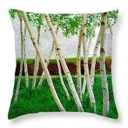 A Grove Of Birches 1 Throw Pillow