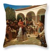 A Gypsy Dance In The Gardens Of Alcazar Throw Pillow