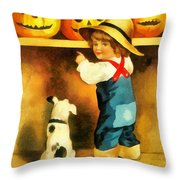 A Happy Halloween Puppy Throw Pillow