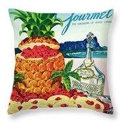 A Hawaiian Scene With Pineapple Slices Throw Pillow