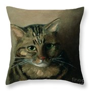 A Head Study Of A Tabby Cat Throw Pillow