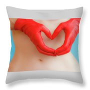 A Heart Of Red Leather Throw Pillow