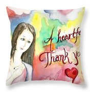 A Heartful Thank You Throw Pillow