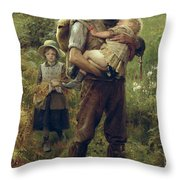 A Heavy Burden Throw Pillow by Arthur Hacker