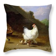 A Hen With Her Chicks Throw Pillow