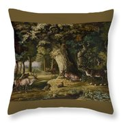 A Herd Of Stag And A Fawn In A Woodland Landscape Throw Pillow
