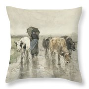 A Herdess With Cows On A Country Road In The Rain Throw Pillow