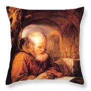 A Hermit Praying 1670 Throw Pillow