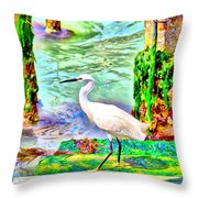 a heron is walking on a stair about the Grand Canal Throw Pillow