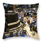 A High Angle View Of The New York Stock Throw Pillow by Justin Guariglia