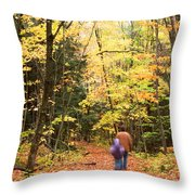 A Hike Into The Forest Throw Pillow
