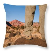 A Hiker Admires The Sunrise Light Throw Pillow