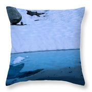 A Hiker Explores A Lake Near The Nellie Throw Pillow
