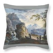 A Hilly Landscape With Figures  Throw Pillow
