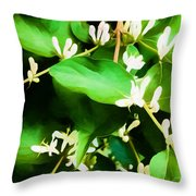 A Honeysuckle Painting Throw Pillow