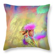 A Hoverfly On Abstract #h3 Throw Pillow
