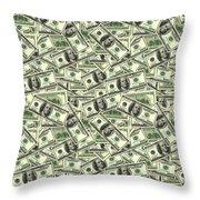 A Hundred Dollar Bill Banknotes Throw Pillow