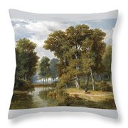 A Hunter And An Angler In A Wooded Landscape Throw Pillow