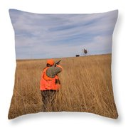 A Hunter Shoots A Ring Necked Pheasant Throw Pillow