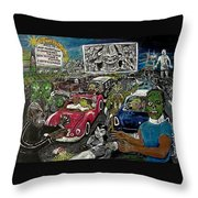 A I P Monster Movie Marathon At The Twilight Drive - In  La Porte Indiana Throw Pillow