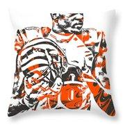 A J Green Cincinnati Bengals Pixel Art 5 Throw Pillow
